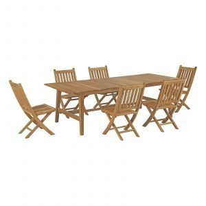7 Piece Outdoor Patio Teak Outdoor Dining Set EEI-3309