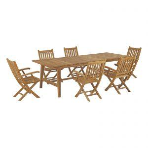 7 Piece Outdoor Patio Teak Outdoor Dining Set in Natural EEI-3310