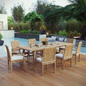 9 Piece Outdoor Patio Teak Outdoor Dining Set in Natural White EEI-3312