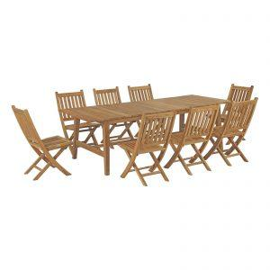 9 Piece Outdoor Patio Teak Outdoor Dining Set in Natural