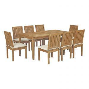 9 Piece Outdoor Patio Teak Outdoor Dining Set in Natural White