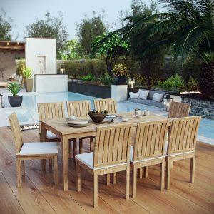 9 Piece Outdoor Patio Teak Outdoor Dining Set in Natural White EEI-3315