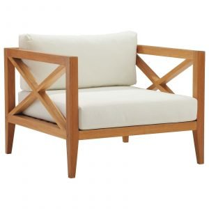 Northlake Outdoor Patio Premium Grade A Teak Wood Armchair in Natural White