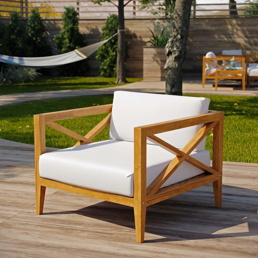 Northlake Outdoor Patio Premium Grade A Teak Wood Armchair in Natural White EEI-3425