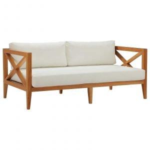 Outdoor Patio Premium Grade A Teak Wood Sofa in Natural White