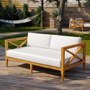 Outdoor Patio Premium Grade A Teak Wood Sofa in Natural White EEI-3427
