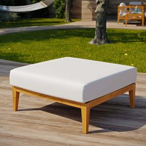 Outdoor Patio Premium Grade A Teak Wood Ottoman in Natural White