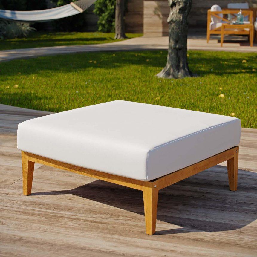 Outdoor Patio Premium Grade A Teak Wood Ottoman in Natural White