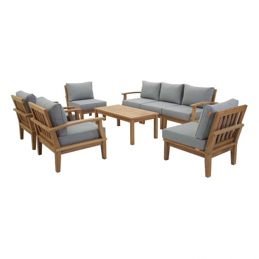 EEI-1479 8 Piece Teak Set Gray