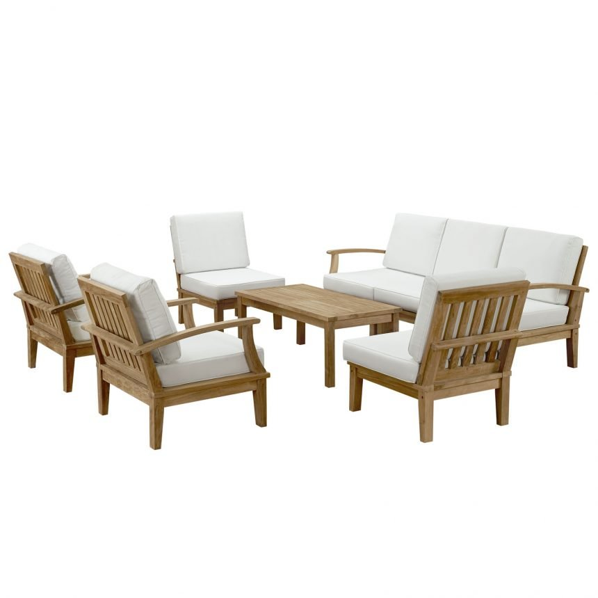 EEI-1479 8 Piece Teak Set White