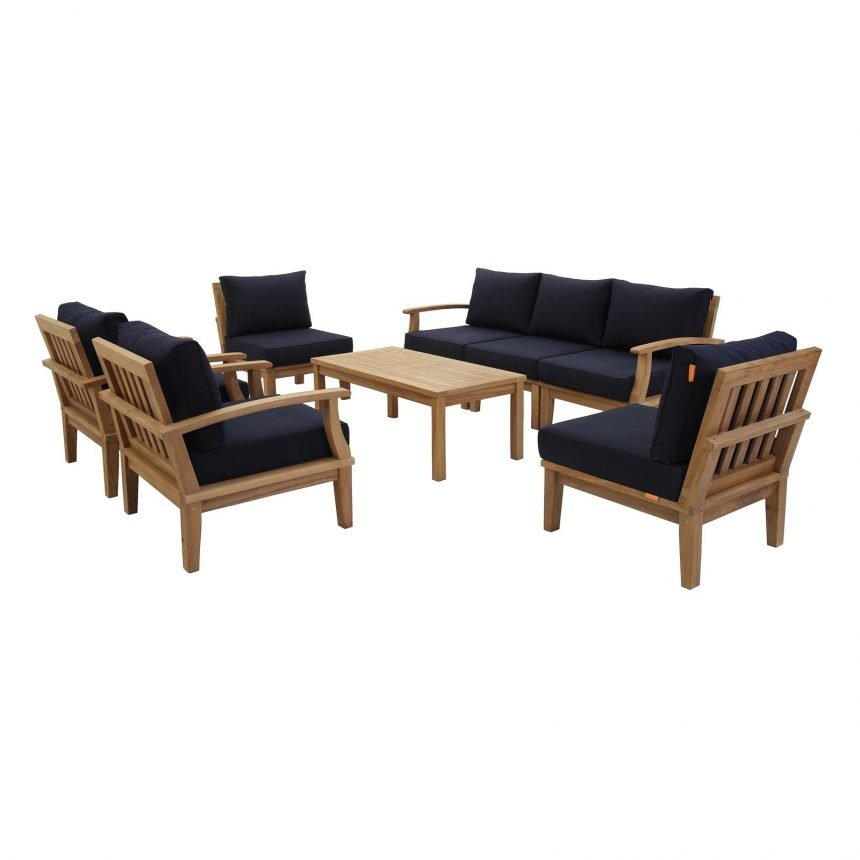 EEI-1479 8 piece teak set navy