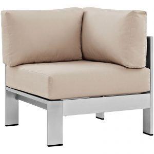 Brushed Aluminum Corner Chair-2264-SLV-BEI