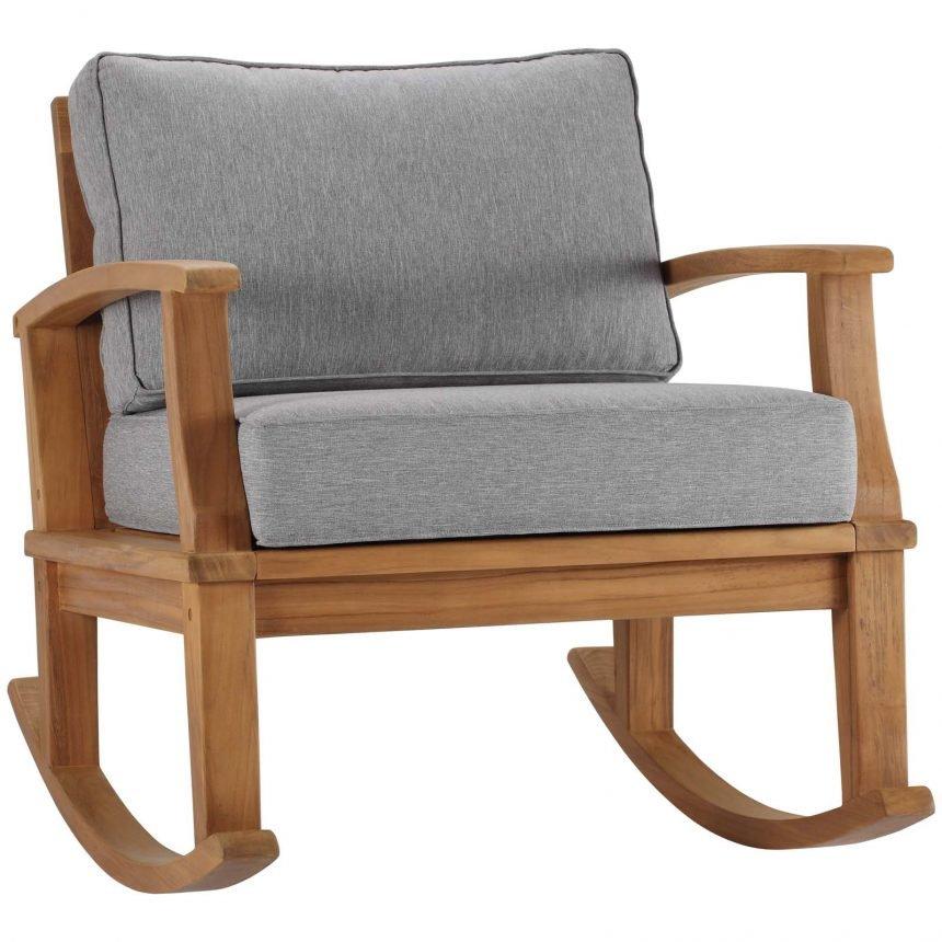 Outdoor Patio Teak Rocking Chair in Natural Gray EEI-4177