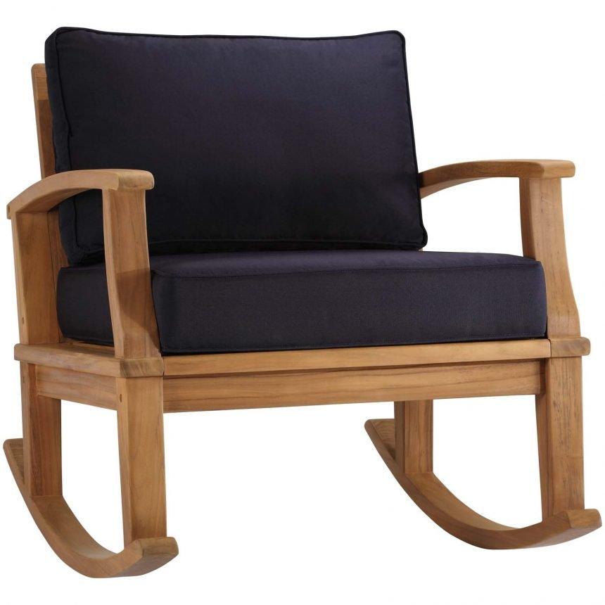 Outdoor Patio Teak Rocking Chair in Natural Navy EEI-4177