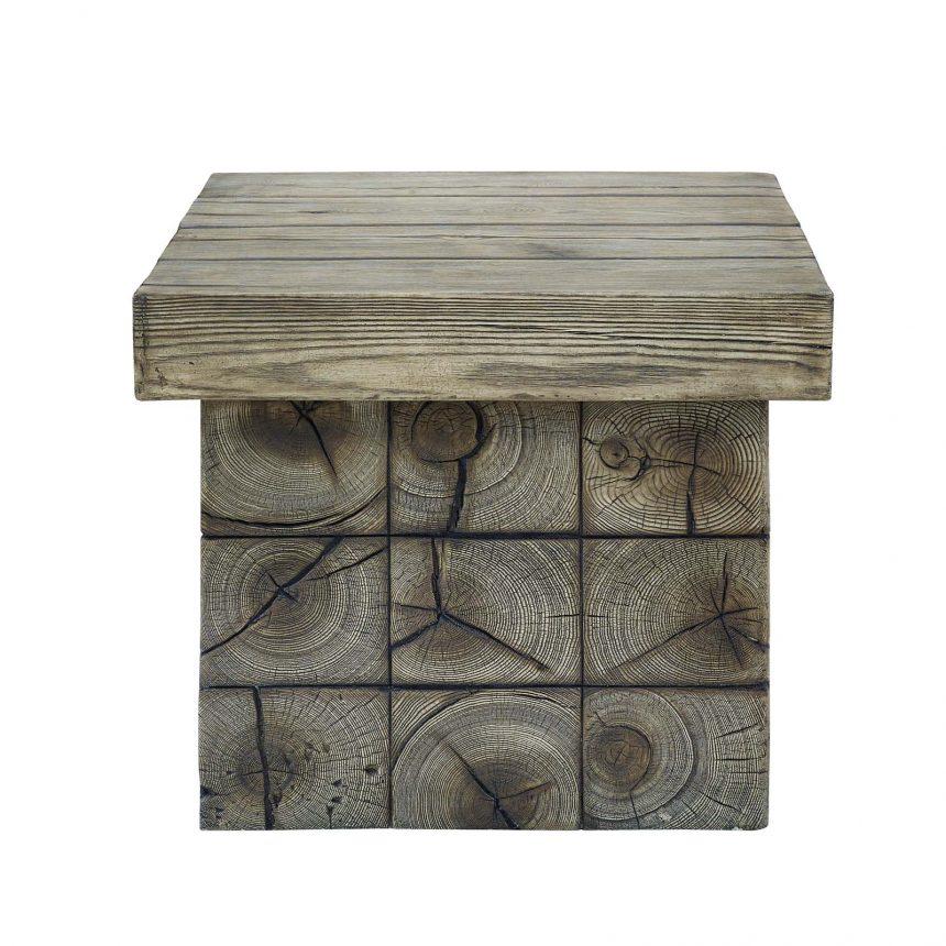 Rustic Coastal Outdoor Patio Side Table in Light Gray-EEI-3562
