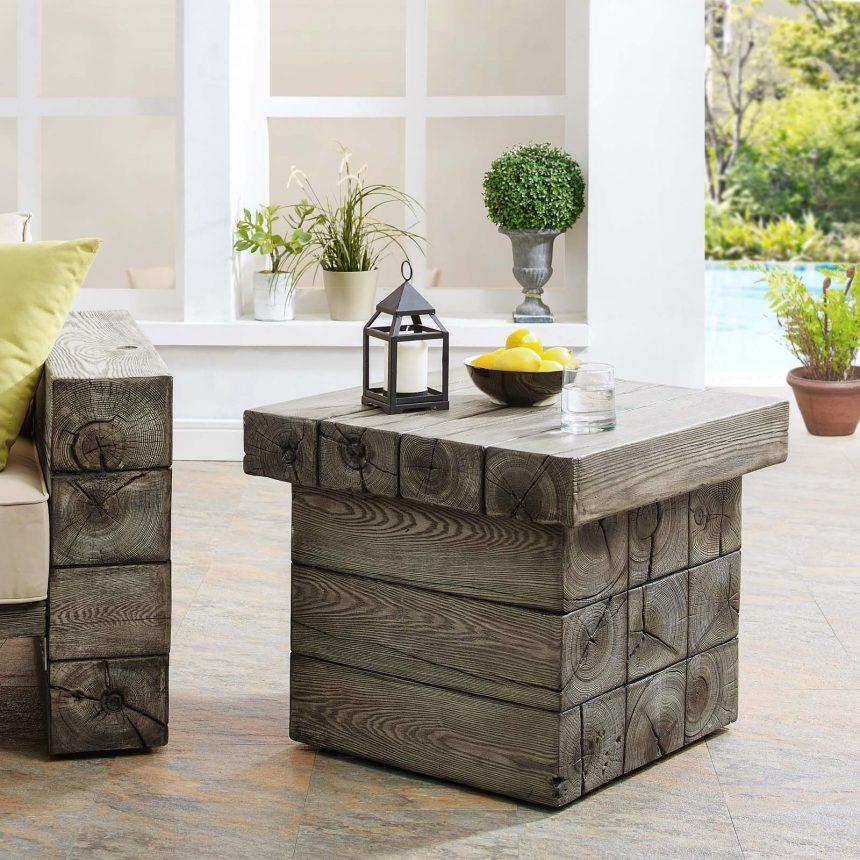 Rustic Coastal Outdoor Patio Side Table in Light Gray-EEI-3562-Live