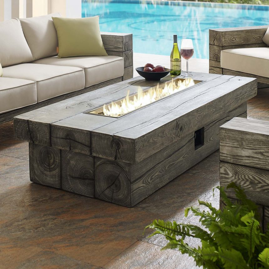 "70"" Rectangular Outdoor Patio Fire Pit Table in Light Gray-EEI-3563-LGR-live front"
