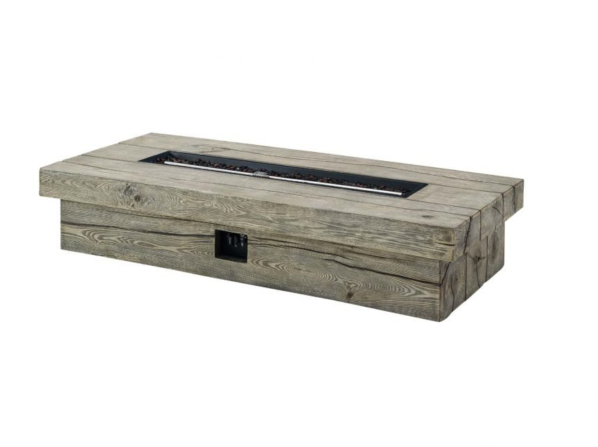"70"" Rectangular Outdoor Patio Fire Pit Table in Light Gray-EEI-3563-LGR -side"