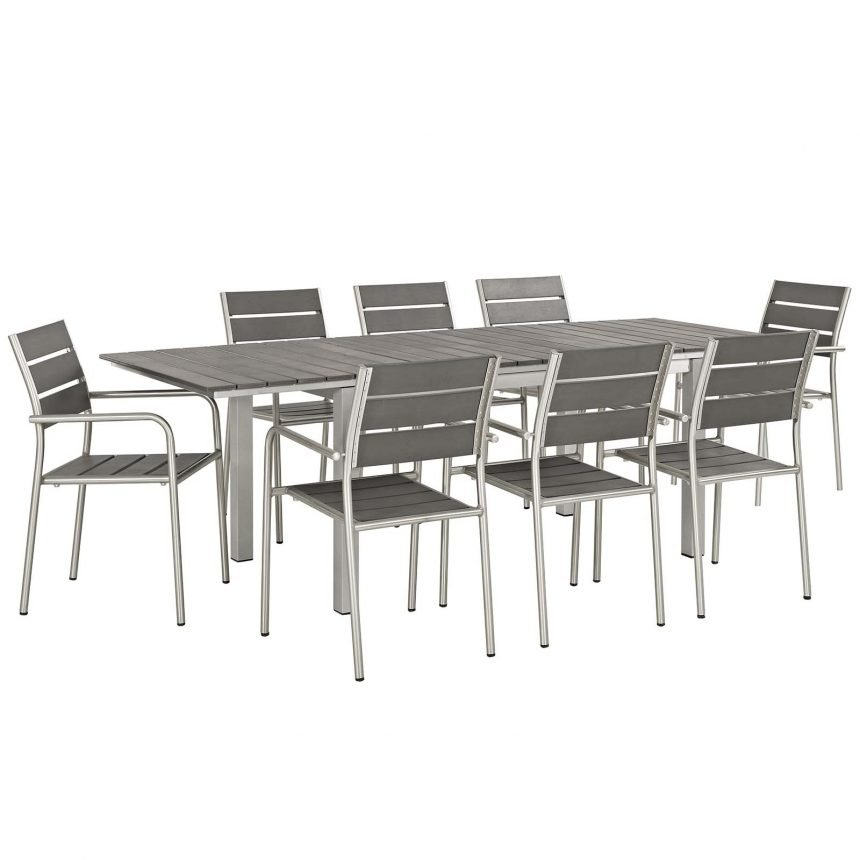 9 Piece Outdoor Patio Aluminum Dining Set in Silver Gray-EEI-3201-SLV-GRY-SET_1_