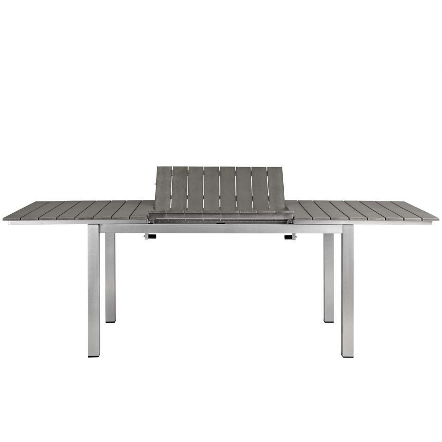 9 Piece Outdoor Patio Aluminum Dining Set in Silver Gray-EEI-3201-SLV-GRY-SET_Table Leaf