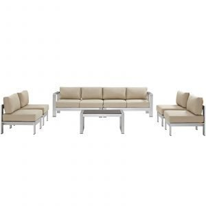 7 Piece Outdoor Patio Sectional Sofa Set in Silver Beige-EEI-2566-SLV-BEI_2_
