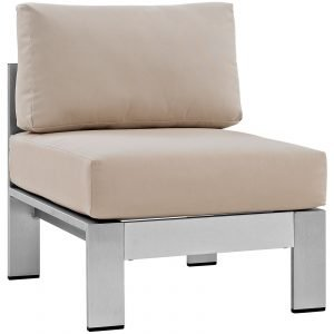 7 Piece Outdoor Patio Sectional Sofa Set in Silver Beige-EEI-2566-SLV-BEI_armless chair