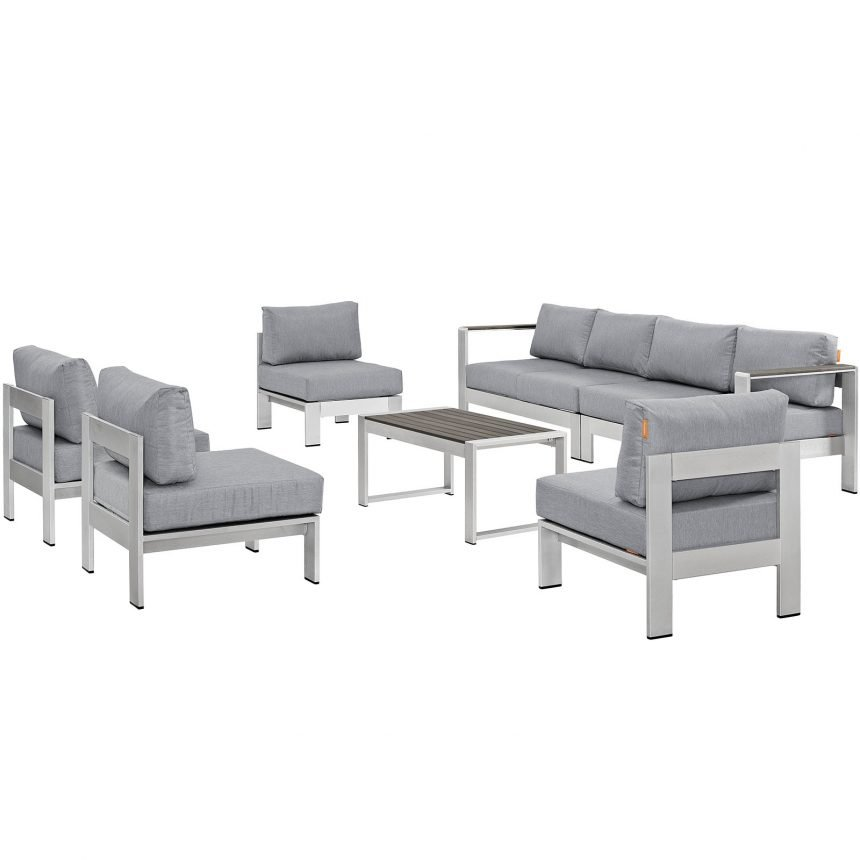 7 Piece Outdoor Patio Sectional Sofa Set in Silver Gray-EEI-2566-SLV-GRY_Front