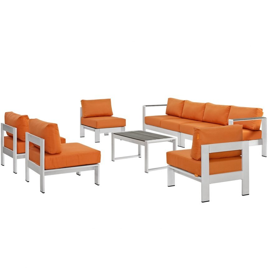 7 Piece Outdoor Patio Sectional Sofa Set in Silver Orange-EEI-2566-SLV-ORA_Front