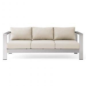 Outdoor Patio Aluminum Sofa-EEI-3917-SLV-BEI_Front