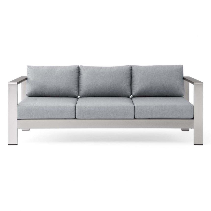 Outdoor Patio Aluminum Sofa-EEI-3917-SLV-GRY_Front