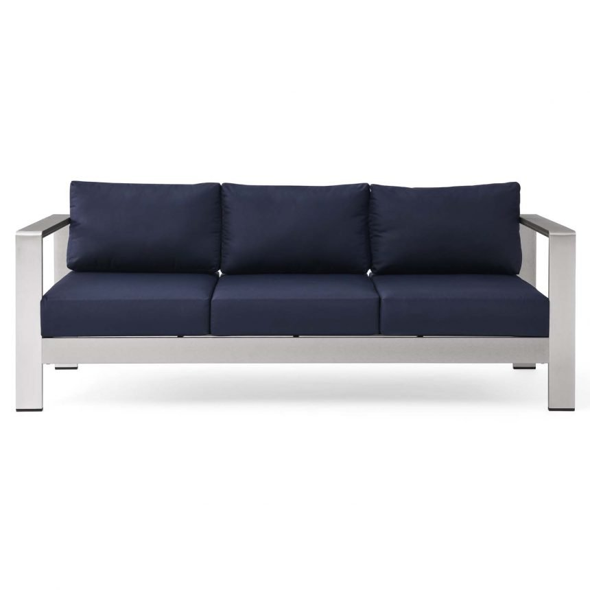 Outdoor Patio Aluminum Sofa-EEI-3917-SLV-NAV_Front