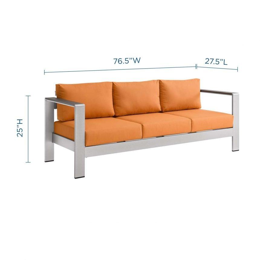 Outdoor Patio Aluminum Sofa-EEI-3917-SLV-ORA-Dimensions