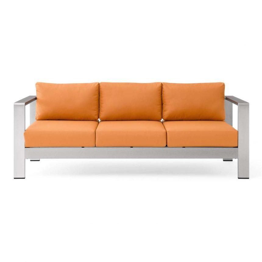 Outdoor Patio Aluminum Sofa-EEI-3917-SLV-ORA_Front