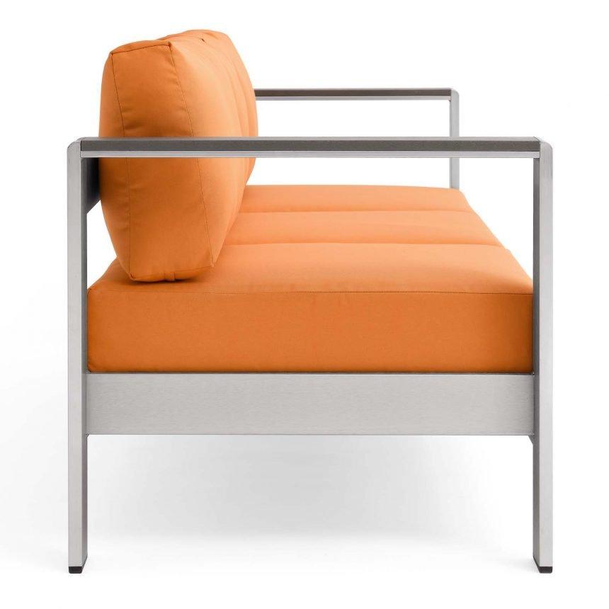 Outdoor Patio Aluminum Sofa-EEI-3917-SLV-ORA_Side