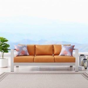Outdoor Patio Aluminum Sofa-EEI-3917-SLV-ORA_live