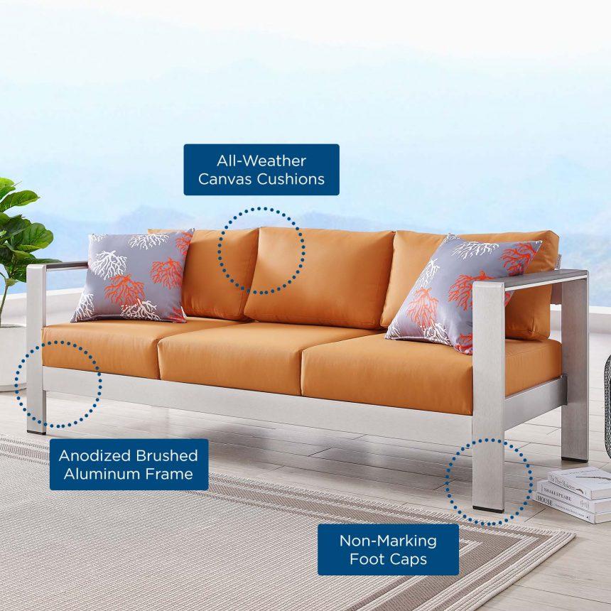 Outdoor Patio Aluminum Sofa-EEI-3917-SLV-ORA_text