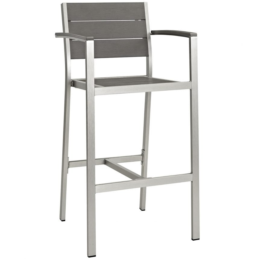 Outdoor Patio Aluminum Bar Stool in Silver Gray-EEI-2254-SLV-GRY side front