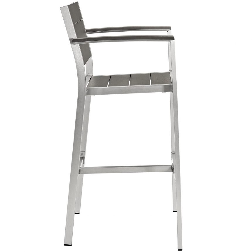 Outdoor Patio Aluminum Bar Stool in Silver Gray-EEI-2254-SLV-GRY_Side