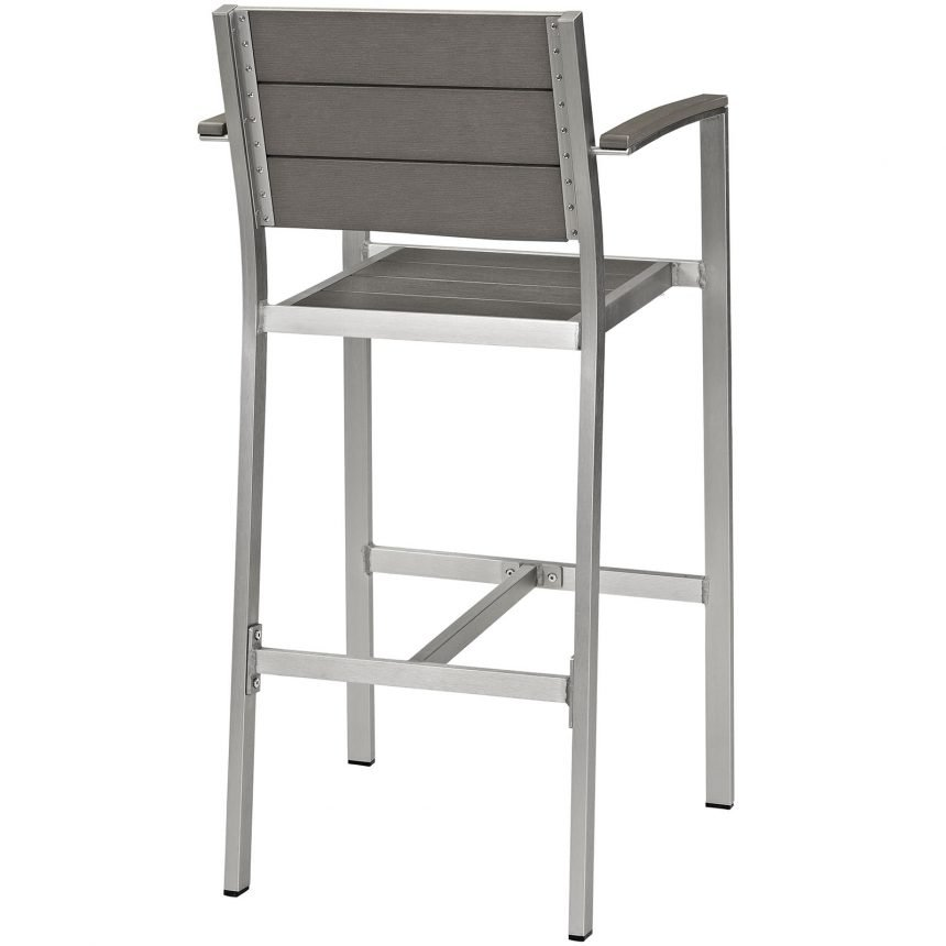 Outdoor Patio Aluminum Bar Stool in Silver Gray-EEI-2254-SLV-GRY_side back