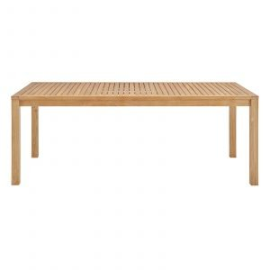 "79"" Outdoor Patio Teak Wood Dining Table in Natural-EEI-3717-NAT_side"