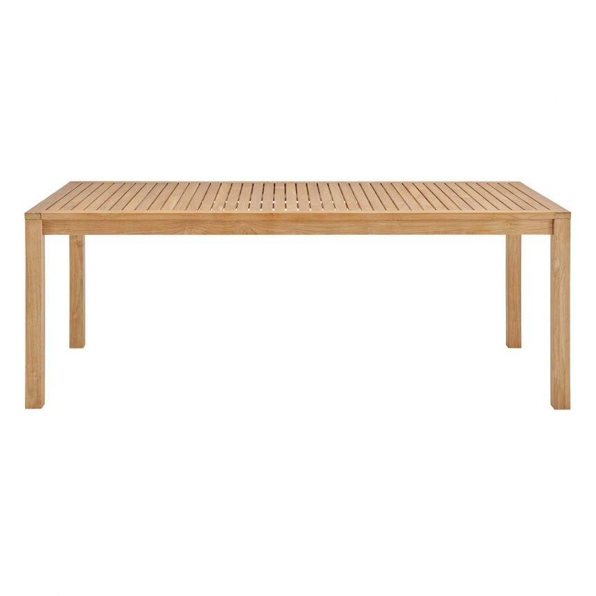 """79"""" Outdoor Patio Teak Wood Dining Table in Natural-EEI-3717-NAT_side"""