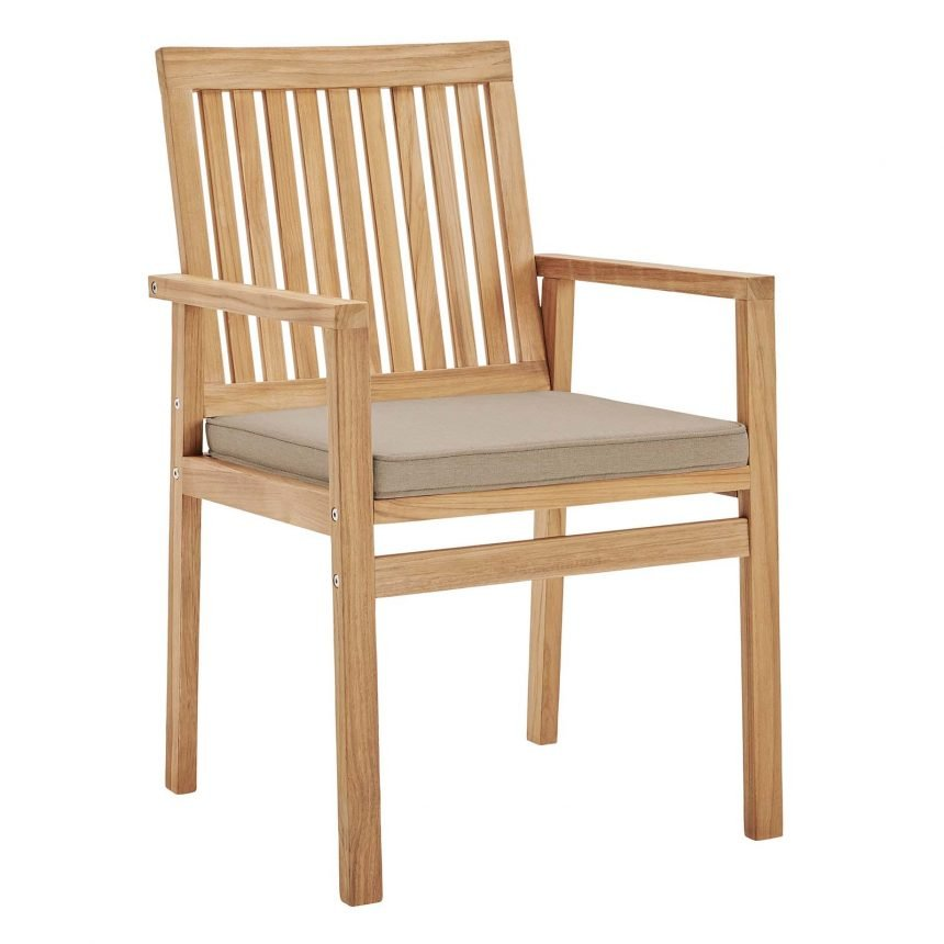 Outdoor Patio Teak Wood Dining Armchair in Natural Taupe-EEI-3718-NAT-TAU_Front side