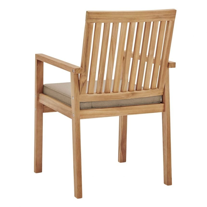 Outdoor Patio Teak Wood Dining Armchair in Natural Taupe-EEI-3718-NAT-TAU_side back