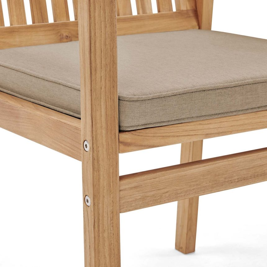 Outdoor Patio Teak Wood Dining Armchair in Natural Taupe-EEI-3718-NAT-TAU_up close