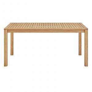 "63"" Rectangle Outdoor Patio Teak Wood Dining Table in Natural-EEI-3719-NAT_side"