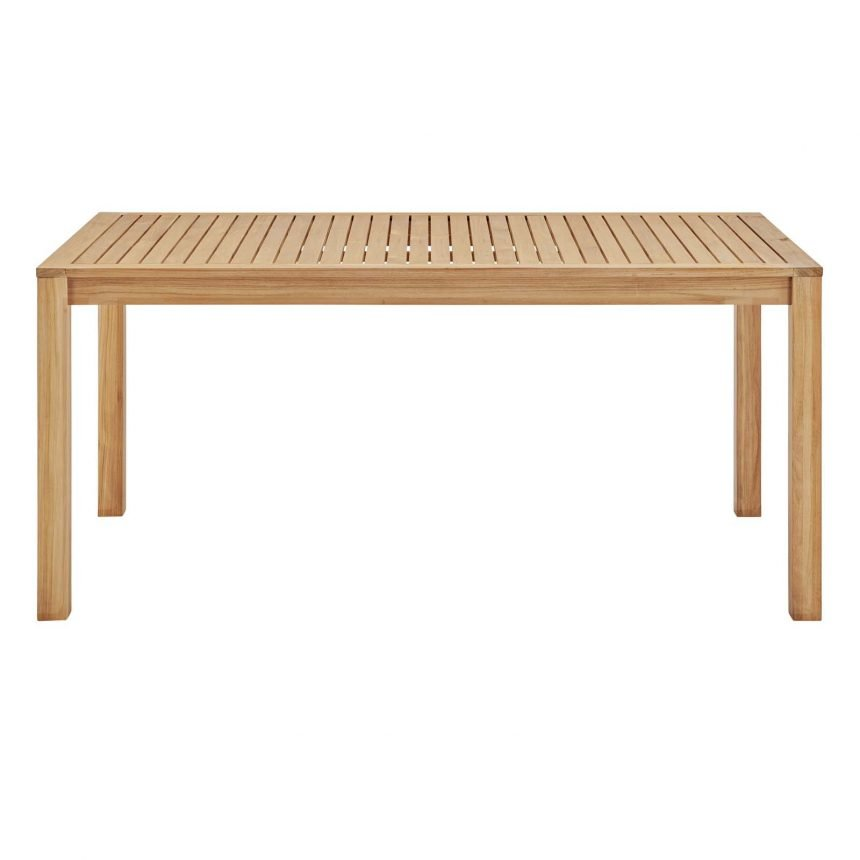 """63"""" Rectangle Outdoor Patio Teak Wood Dining Table in Natural-EEI-3719-NAT_side"""