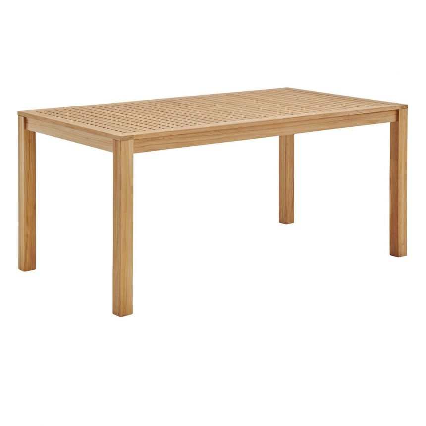 """63"""" Rectangle Outdoor Patio Teak Wood Dining Table in Natural-EEI-3719-NAT_side front"""