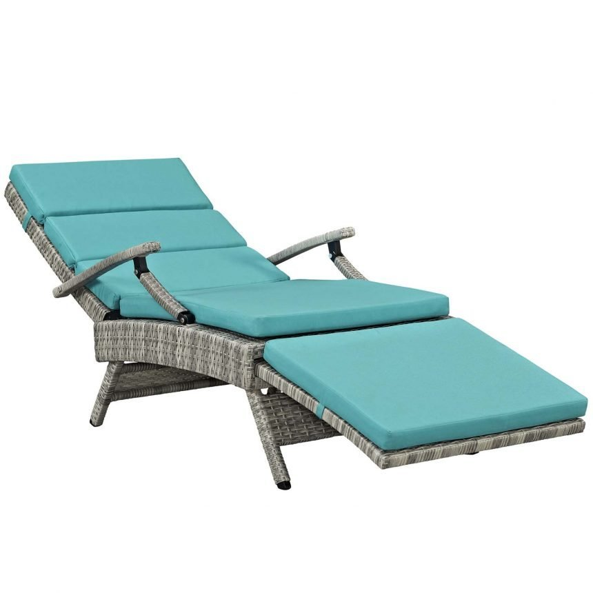 Chaise Outdoor Patio Wicker Rattan Lounge Chair-EEI-2301-LGR-TRQ_lying flat