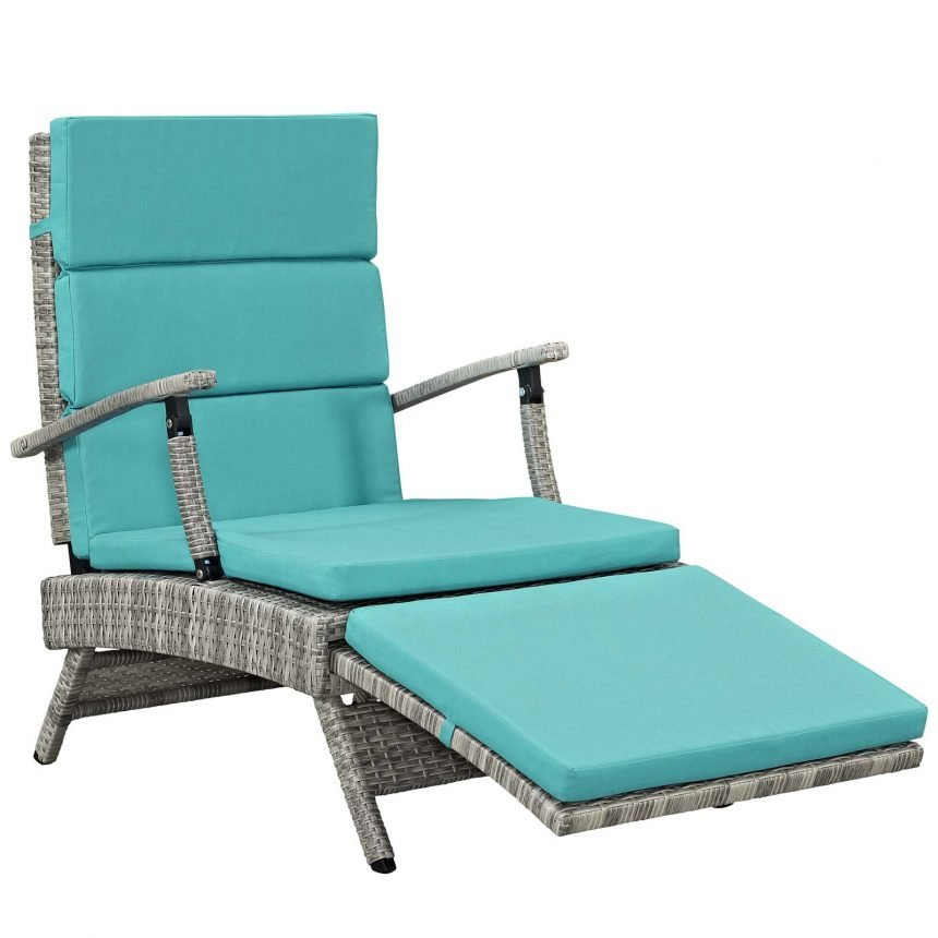 Chaise Outdoor Patio Wicker Rattan Lounge Chair-EEI-2301-LGR-TRQ_side front