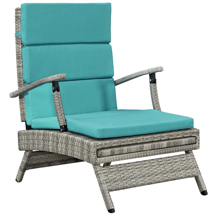 Chaise Outdoor Patio Wicker Rattan Lounge Chair-EEI-2301-LGR-TRQ_sitting up